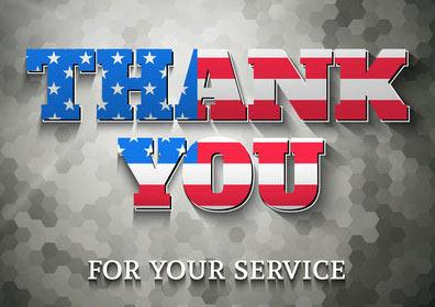 Thank you for your service Military rates discount