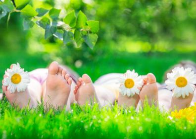 A family lying down in the grass
