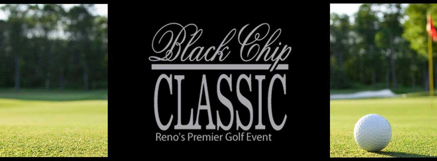 Golf ball on green and text of Black Chip Classic for the event.