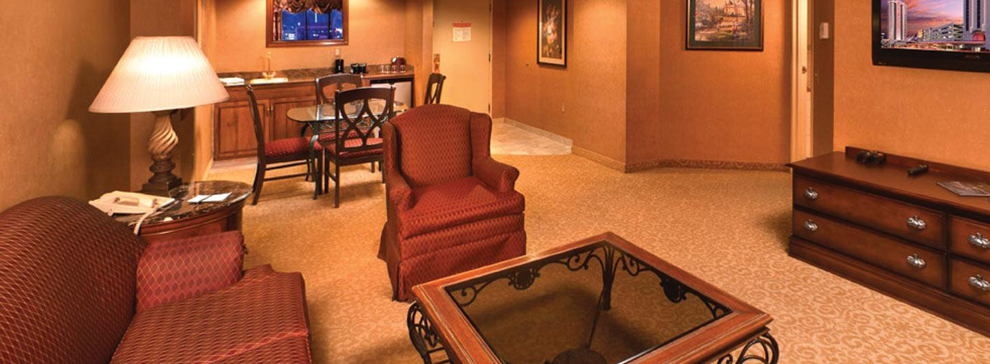Living room of a VIP hotel suite in Reno's Circus Circus