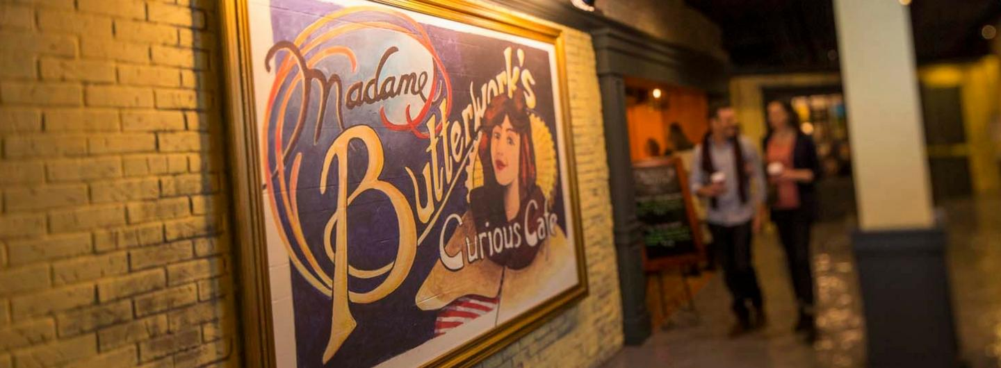 Madame Butterwork's logo outside of restaurant