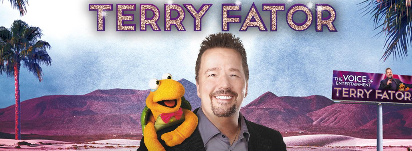 Terry Fator posing with a puppet