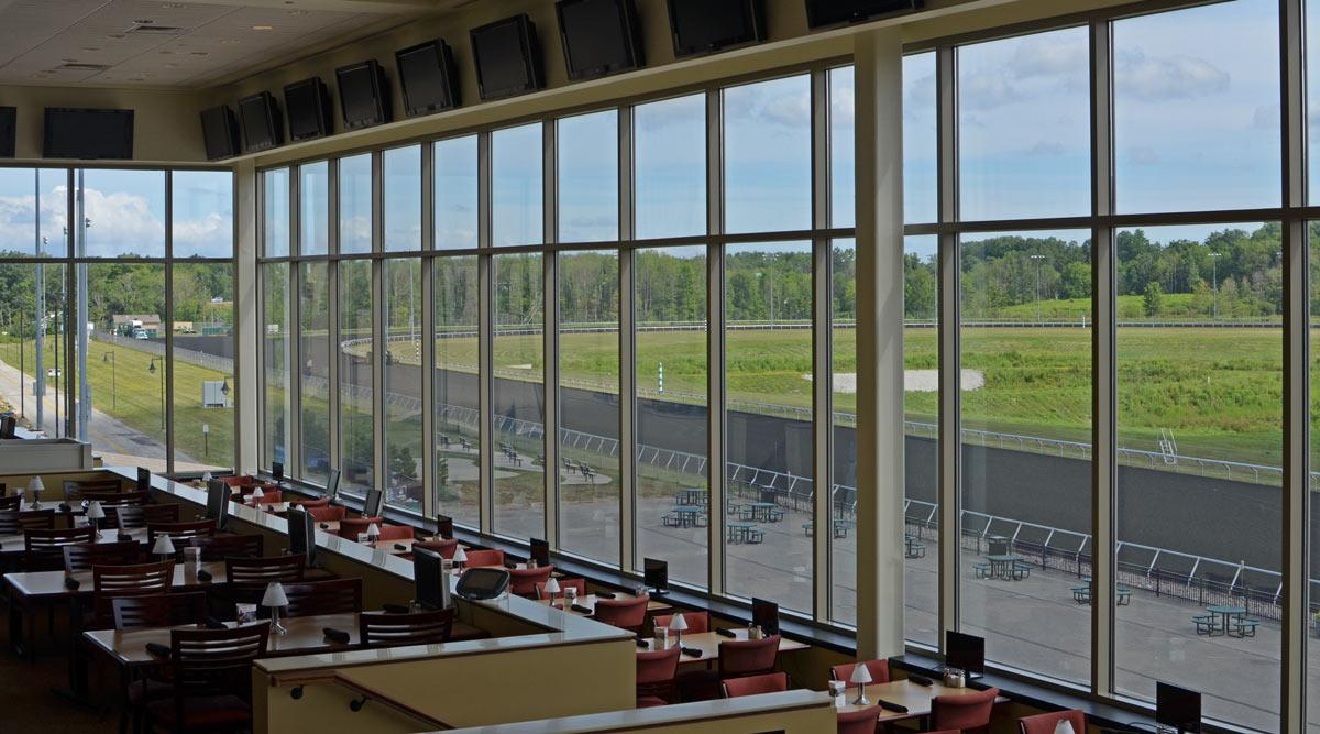 Looking out towards the Presque Isle Downs Racetrack