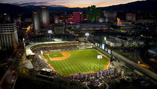Aerial view of Greater Nevada Field and Downtown Reno