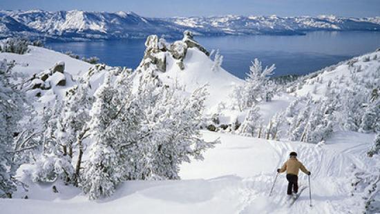 Someone skiing near Lake Tahoe