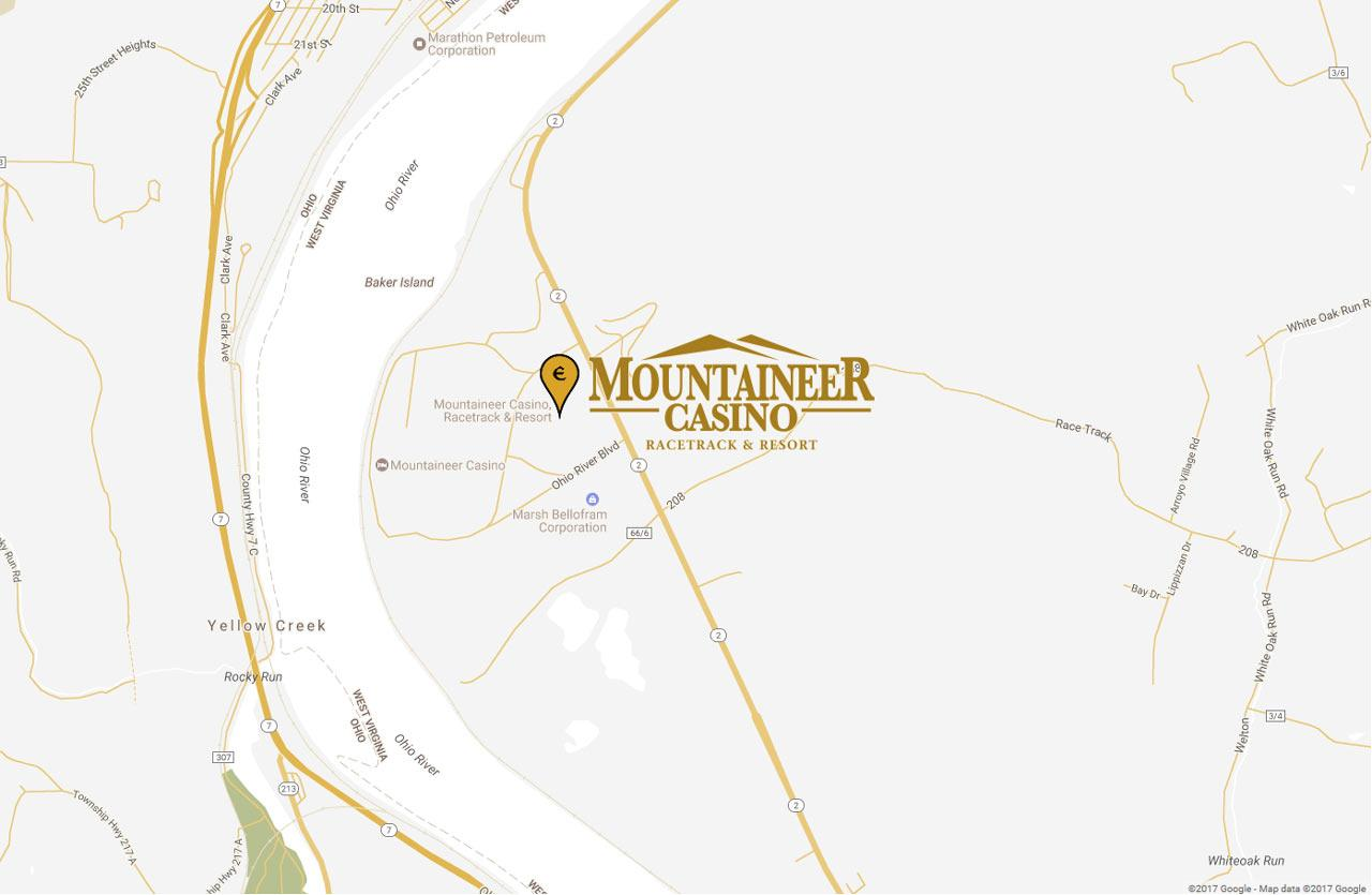 Map of Mountaineer Casino Hotel in Chester, WV
