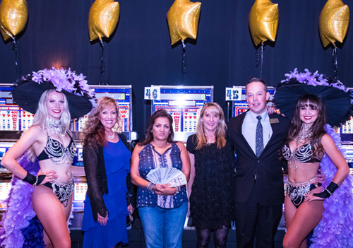 The Worlds Adventure Party first place winner Diana M. with Eldorado Show Girls and Casino Hosts