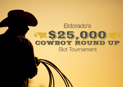 Cowboy silhouette and $25,000 Cowboy Round Up Slot Tournament Logo