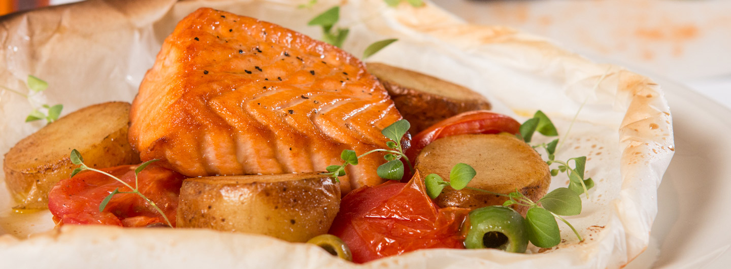 Delicious salmon puff on a plate