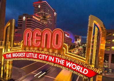 The Reno Arch and the Eldorado behind it in Downtown Reno