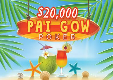 $20,000 Hot Summer Nights Pai Gow Poker Logo with Beach Background and Tropical Drinks
