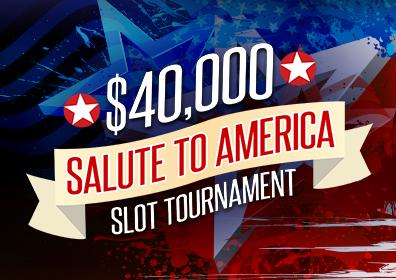 Red, White and Blue $40,00 Salute to America Slot Tournament Logo