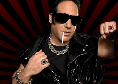 Andrew Dice Clay with Black Sunglasses, Leather Vest and Cigarette in Mouth