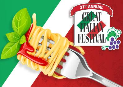 Italian Fest logo next to a fork with spaghetti
