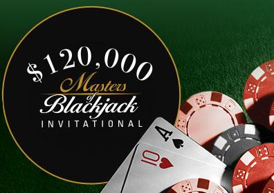 Masters of Blackjack Logo with Playing Cards and Gaming Chips