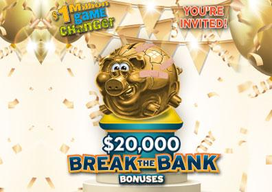Gold piggy bank with Break the Bank logo
