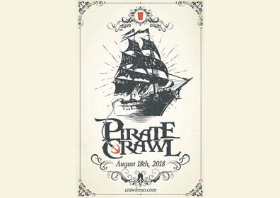 A pirate ship with the Pirate Crawl logo underneath