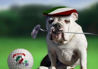 Dog with Golf Putter in Mouth on Golf Course