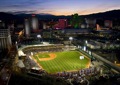 Aerial view of Aces Ballpark Stadium and Downtown Reno