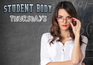 Teacher in front of chalk board and Student Body Thursday Logo