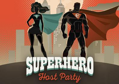 Superhero Host Party Logo