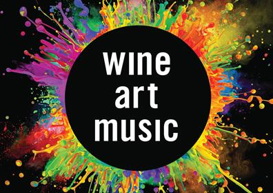 Text of Wine art music in the middle of paint splattered