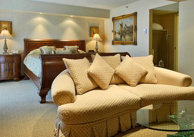 These Reno hotel suites fulfill their name as a 500-square foot one-bedroom suite, similar to a studio apartment.