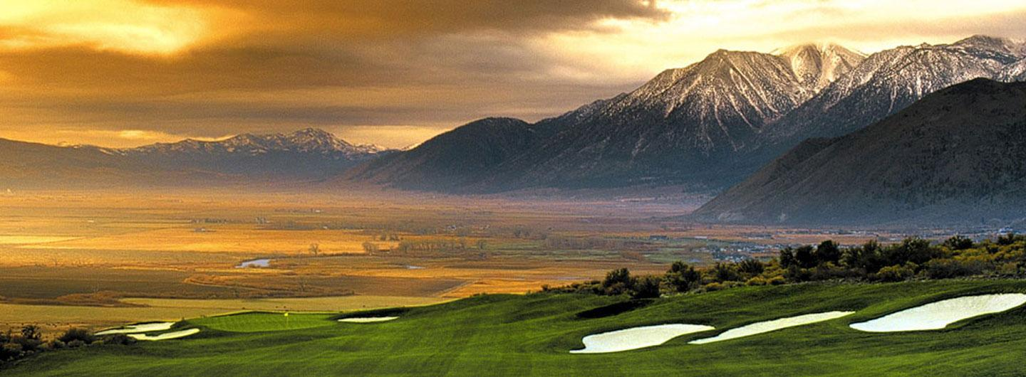 View of Carson Valley Golf Course at Sunset with Mountains Glowing in the Background