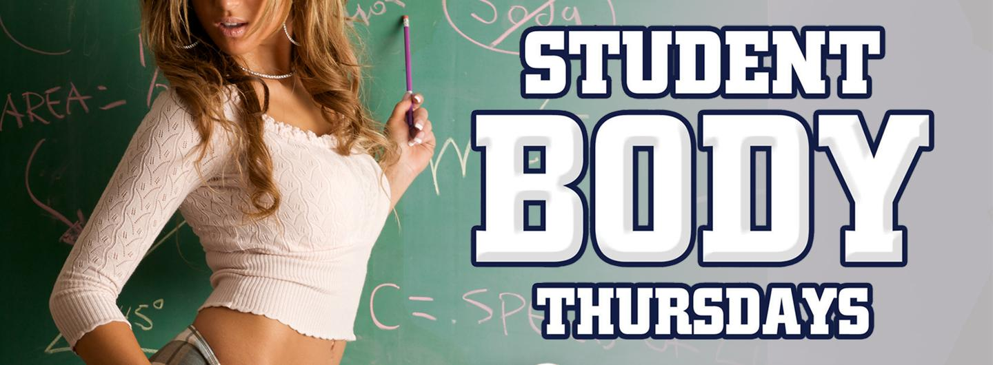Adult School Girl in front of chalk board and Student Body Thursday Logo