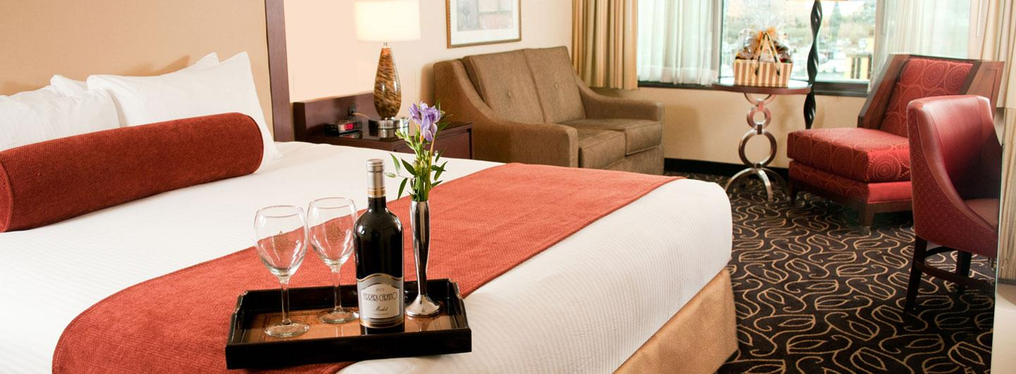 Tower King room boast a comfortable 250 or 275 square feet with a king size bed.