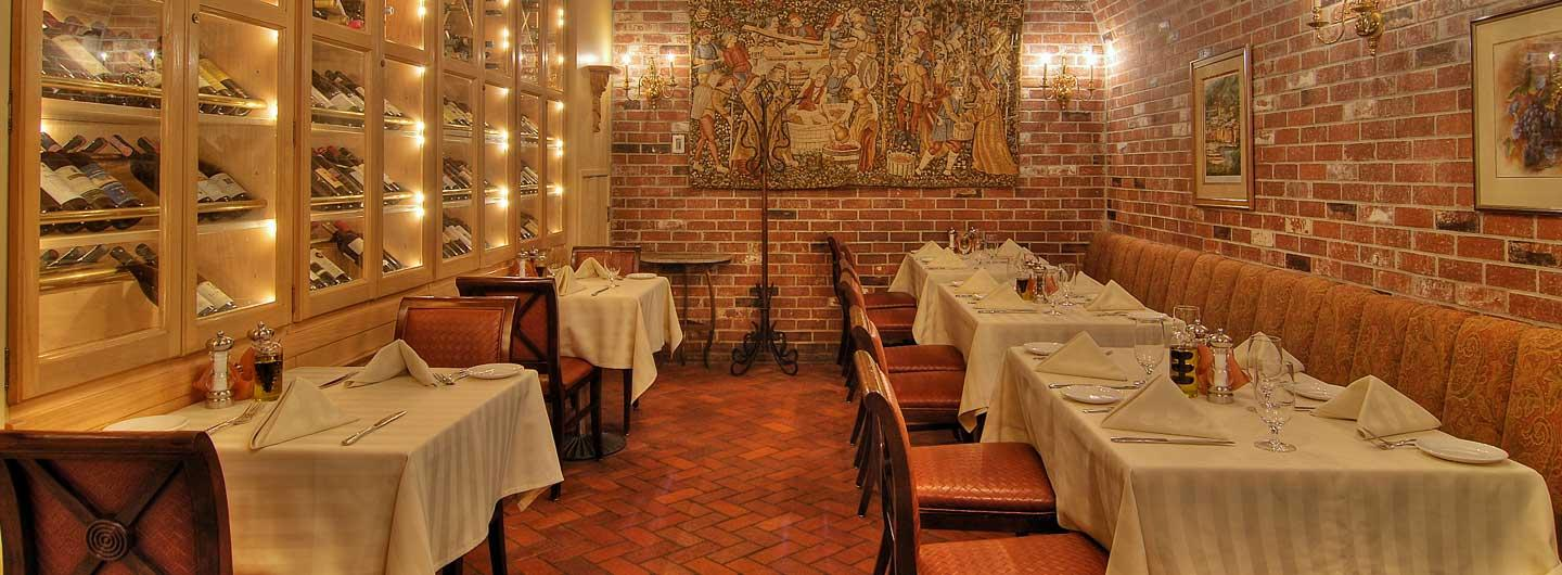 La Strada Restaurant Wine Cellar with Brick Walls and Fine Dining Tables