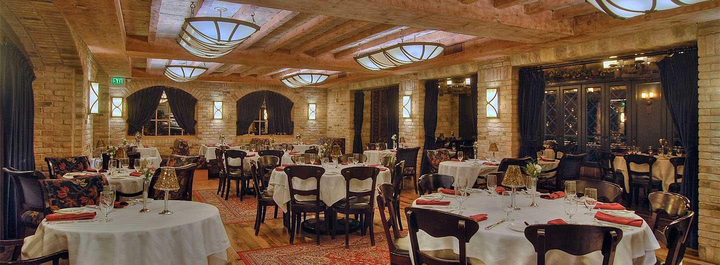 Roxy Wine Cellar and tables in the restaurant