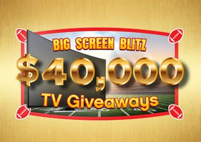 """Big Screen Blitz Graphic Design image featuring a flat screen TV on a football field background with the text """"$40,000 Big Screen Blitz TV Giveaway"""""""