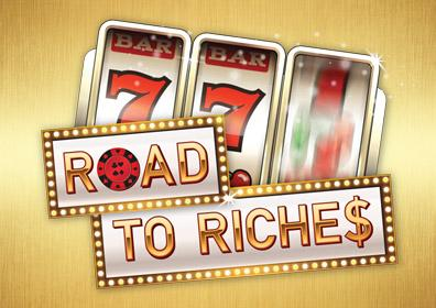 """Roads to Riches Graphic Design Image with Slot Machine Triple 7's and the text """"Roads to Riches"""""""