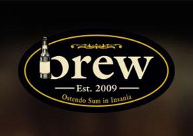 Brew logo with beer bottle design