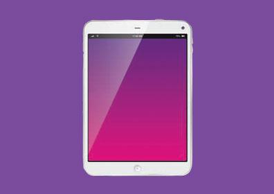 Tablet graphic on purple background