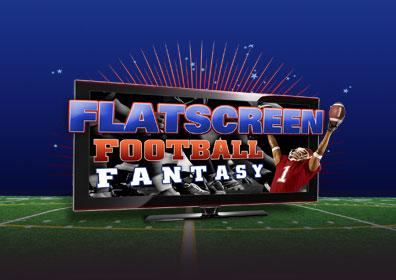 Large flat screen TV on football field with player jumping to catch football through screen