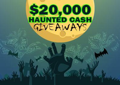 Zombie hands reaching up from grave with floating cash and bats under full moon