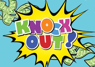 Comic book-style Knock Out graphic with cash flowing