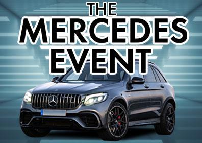 Mercedes SUV on florescent light background with event text