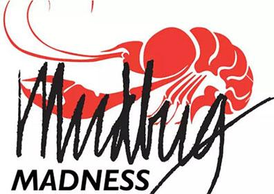 Mudbug Madness logo with illustrated crawfish