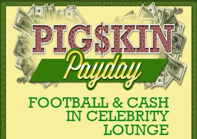 Graphic design of Pigskin Payday logo with cash