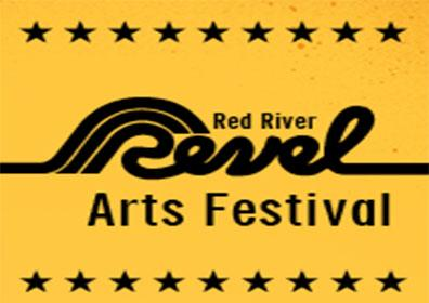 Red River Revel logo on yellow background with stars border