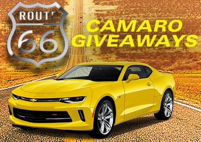 Yellow Camaro on dessert highway with event text