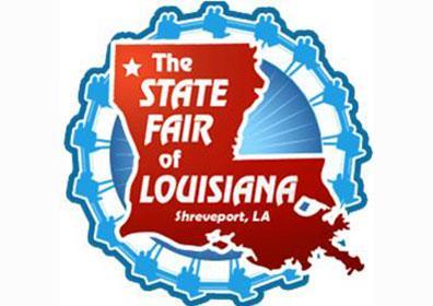 Louisiana State Fair logo with Louisiana state cutout