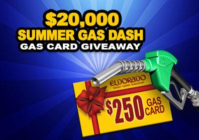 Gift card and gas pump with event text