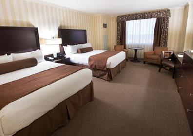 Luxurious standard accommodations are 495 square feet with two queen beds.