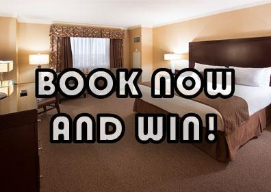 """Silver Suite hotel room with text overlay """"book now and win!"""""""