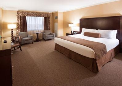 Luxurious standard accommodations are 495 square feet with a king sized bed.