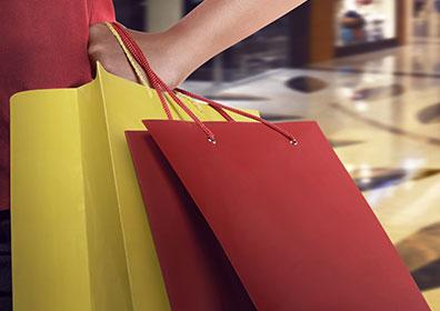 Hand holding shopping bags